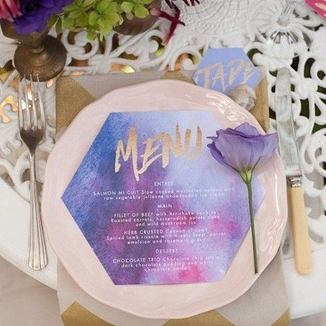 These watercolor place settings are pretty and informative! Photographed by @terrihanlonphotography, Featured on @polkadotbride. Other vendors include: @greenbloomevents , Prop it Pretty, @bigloveweddings, Hair and Makeup by Ashley Rose, @ellyhartleydesigns, @whenfreddiemetlilly. #decor #wedding #watercolor