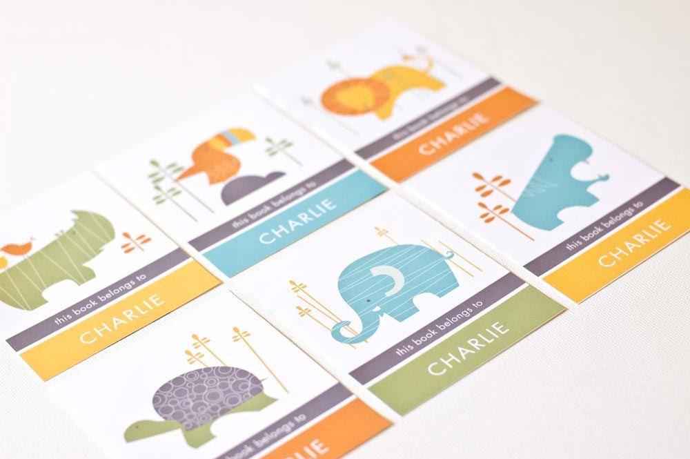 Personalized Bookplates, Childrens Bookplate Sticker // SAFARI MIX. $9.00, via Etsy.@Marguerite Luttrell