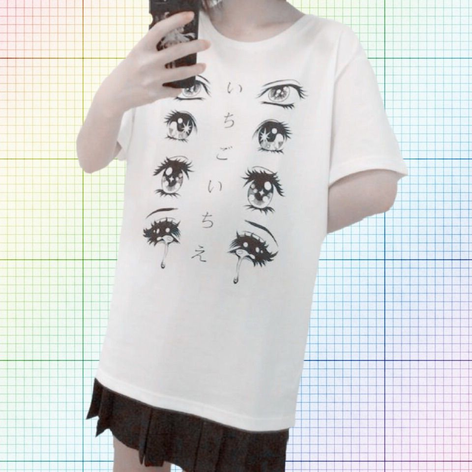 """This T-shirt is the cutest!! In between the adorable manga sad girl eyes is the Japanese idiom, ichi-go ichi-e, meaning """"one time, one meeting"""" or """"once in a lifetime"""". The term reminds people to cherish any gathering that they may take part in, citing the fact that many meetings in life are not ..."""