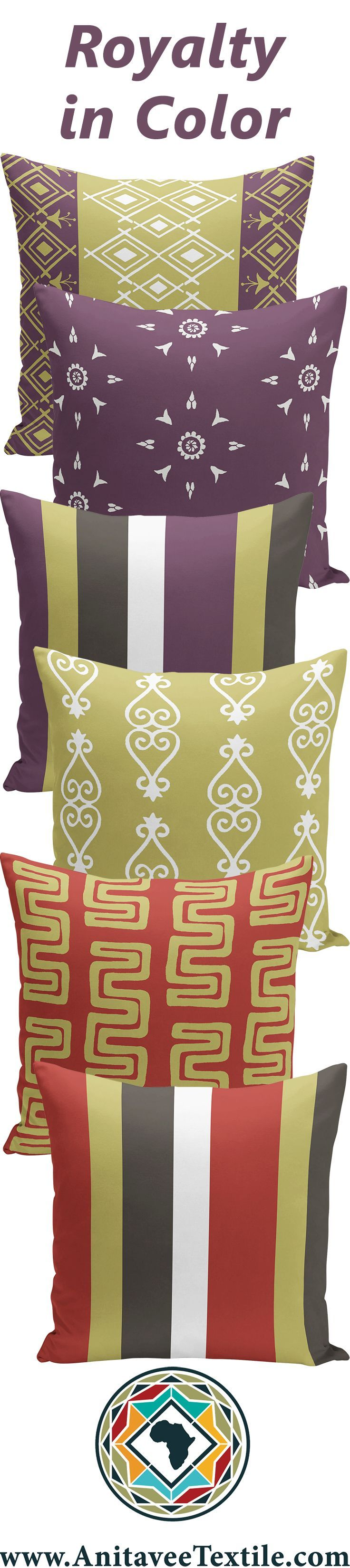 Modern budget home decor throw pillows in the purple chartreause