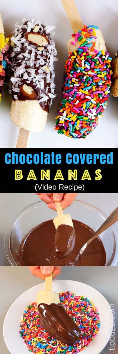 Chocolate Covered Frozen Bananas – The easiest snacks ever! Just 3 Ingredients: banana, chocolate and coconut oil; plus whatever toppings you like. We used M&M crushed colored, fruity pebble cereal, cinnamon toast crunch and colored sprinkles, etc. They taste so good and look absolutely amazing! Quick and easy recipe. Kids friendly. Video recipe. | Tipbuzz.com #ChocolateCoveredBananas #ChocolateBananas #ChocolateCoveredFrozenBananas #frozenbananarecipes