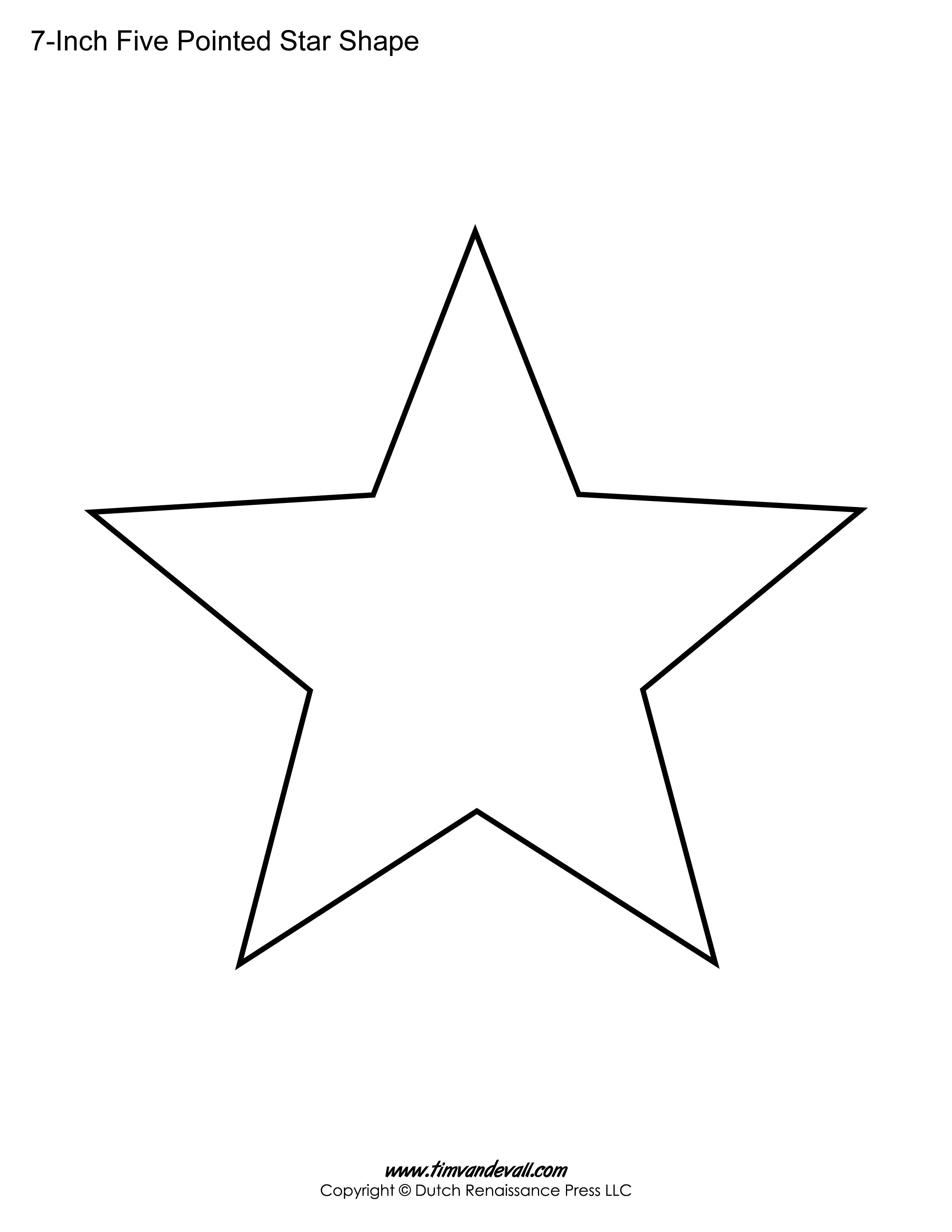 Printable Five Pointed Star Templates