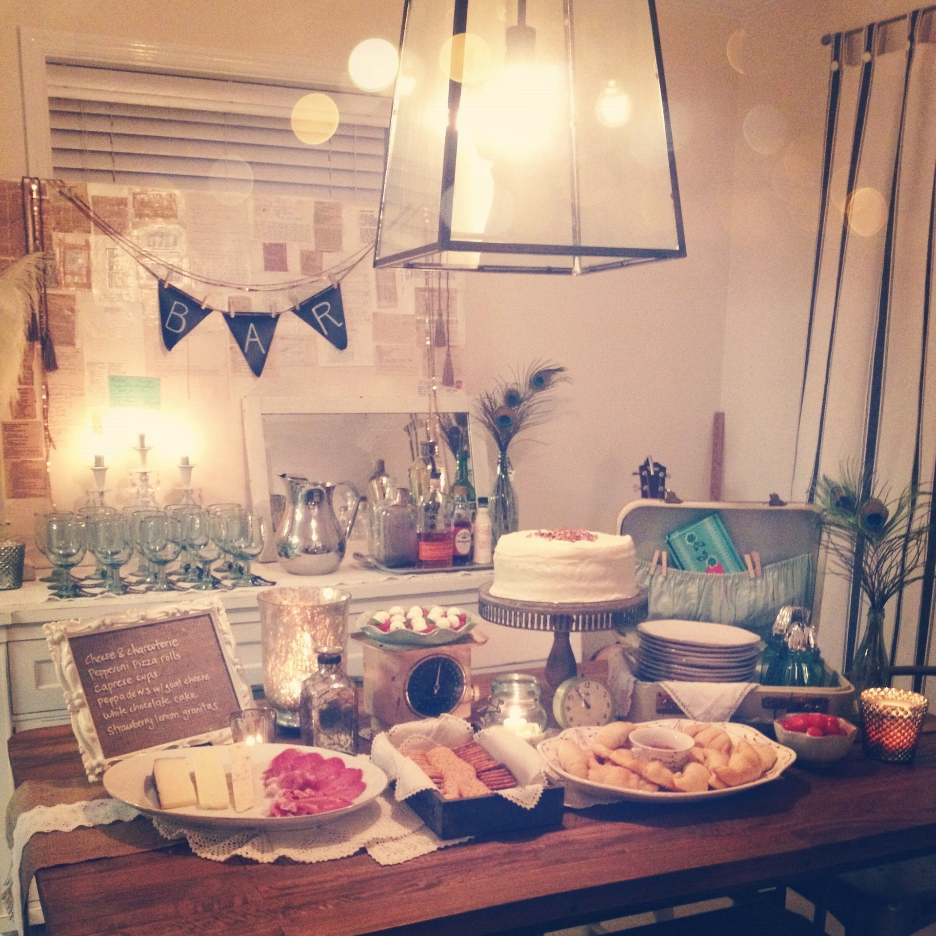 The spread for our 1920 39 s speakeasy party i went with for 1920s party decoration speakeasy