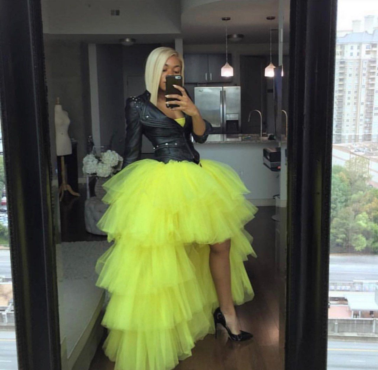 ac7f87a72 Oyemwen Tiered High Low Tulle Maxi Tutu Skirt Bright Yellow in 2019 ...