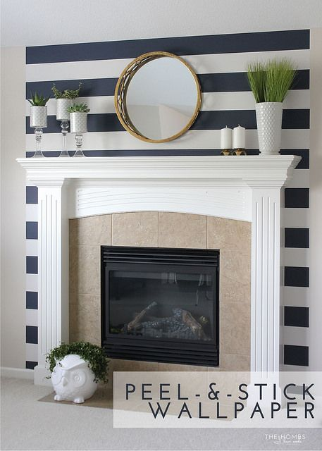 9 Things Renters Can Put On Their Walls Peel And Stick Wallpaper Bedroom Wallpaper Accent Wall Fireplace Accent Walls Preppy Living Room