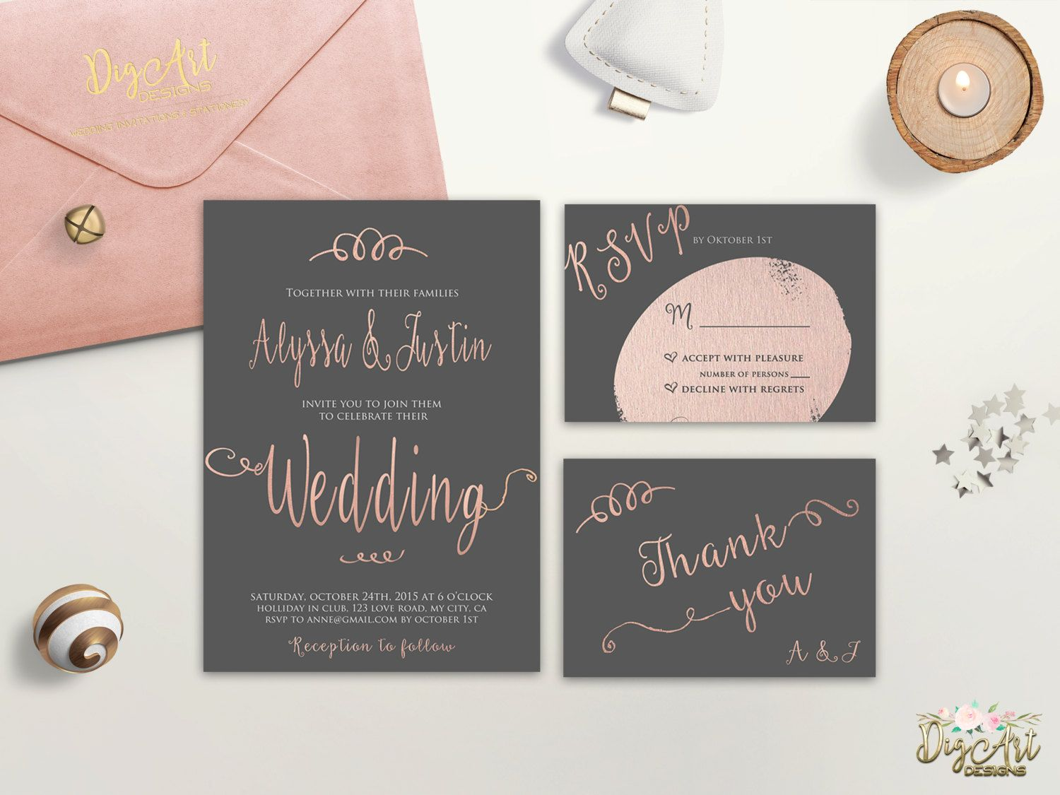 diy wedding invites rustic%0A Pink Grey Wedding Invitation Printable Typography Wedding Invitation Suite  Faux Rose