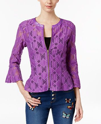 e4dba0322c7 INC International Concepts Lace Peplum Jacket