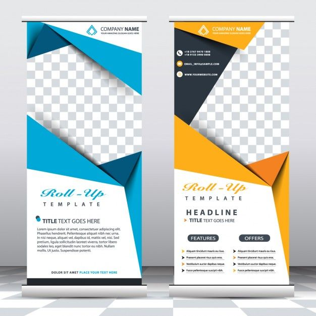 Blue and yellow roll up templates Free Vector Graphic Design - free templates flyer