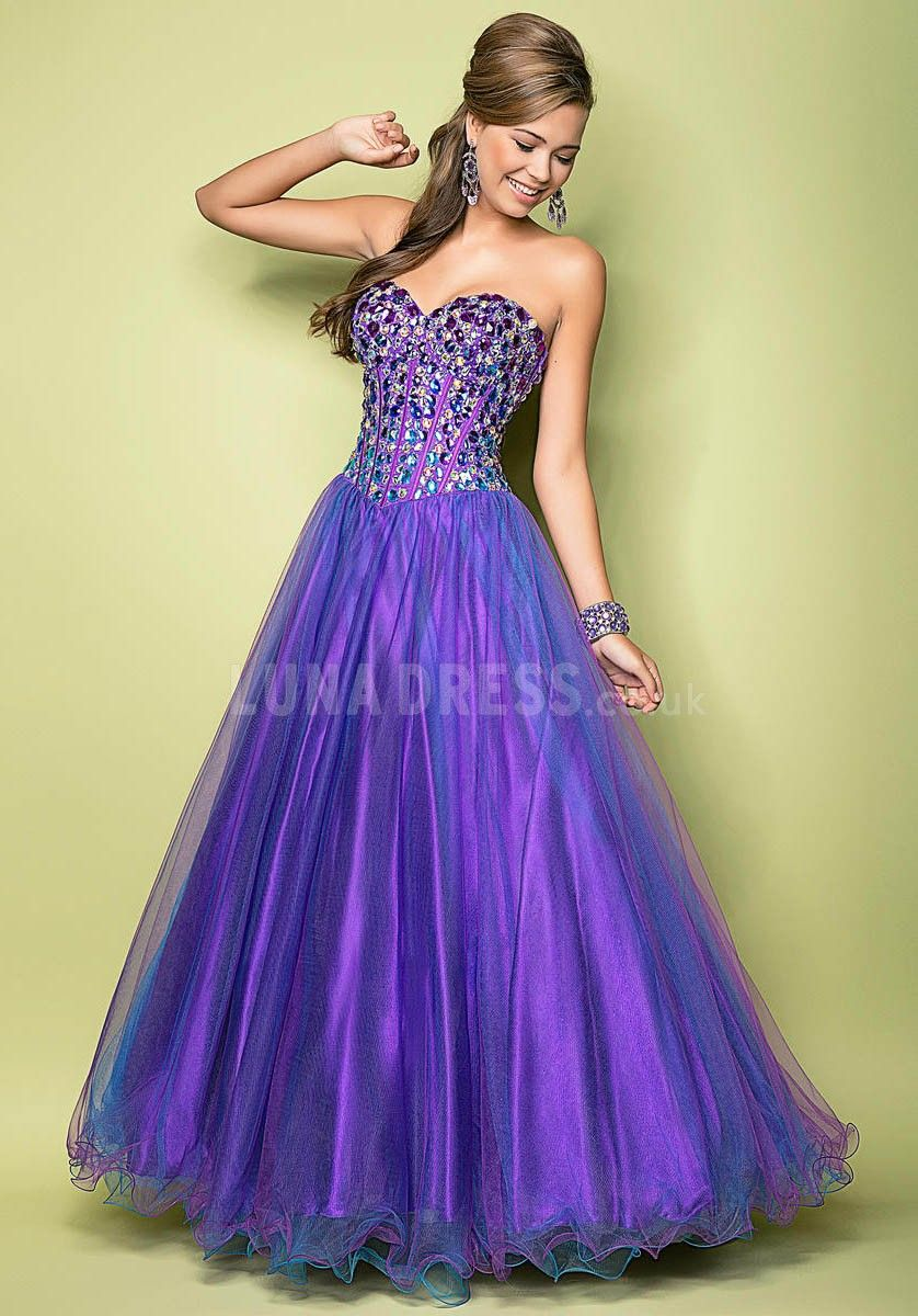 Natural Waist Sweetheart A line Floor Length Tulle Prom Gowns