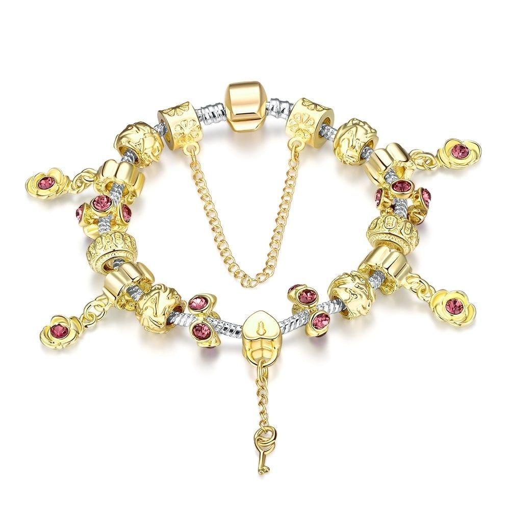 Hakbaho jewelry golden ruby charm omega chain bracelet womenus