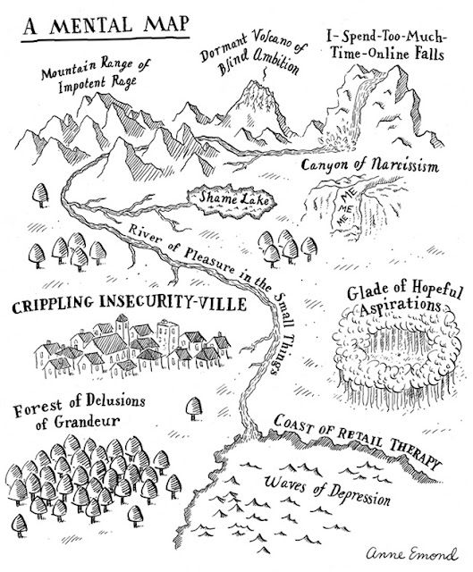 A mental map. Drawing by Anne Emond.