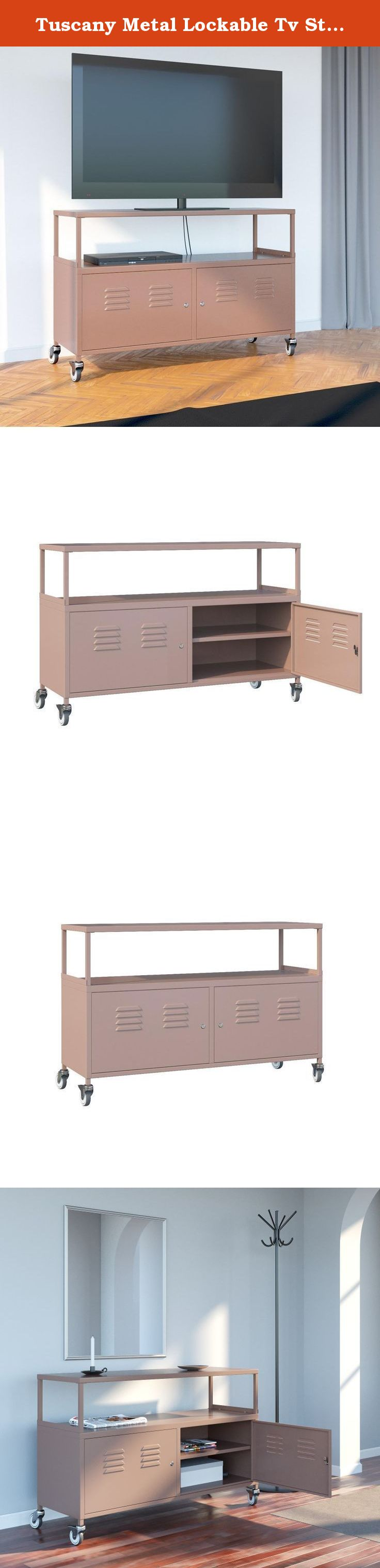 """Tuscany Metal Lockable Tv Stand Cabinet Media Storage With Rolling Casters , Light Brown. •Display your TV on the eye-catching Tuscany TV Stand Cabinet. •Vibrant white finish will bring brightness to your space. •Lockable doors help you to keep your personal stuff in safe. •Great for dorm room and shared apartments. •For easy assembly please check our video on youtube ( Tuscany Metal Cabinet Basic Assembly Video ) •Dimensions of Tv Cabinet Length: 46.5"""" Depth: 15.75"""" Height: 31""""."""