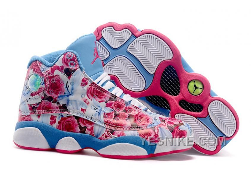 Big Discount 66 OFF Girls Air Jordan 13 GS Floral White Brown Red Womens For Sale
