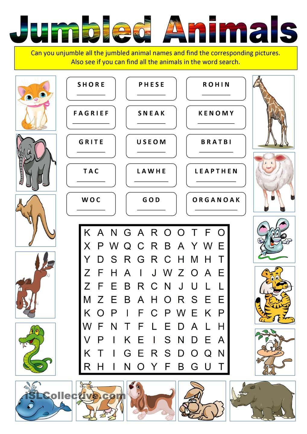 Jumbled Animals Jumbled Words Phonics Reading 1st Grade Homework