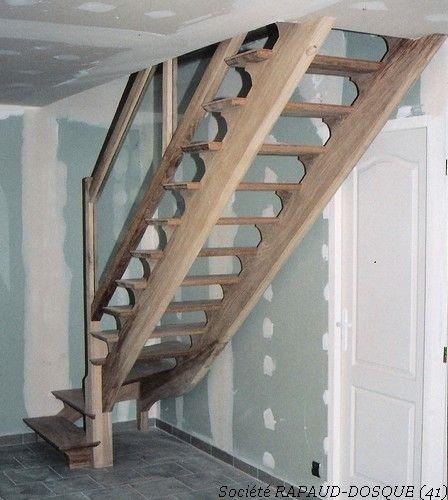 Escalier A L Anglaise En Frene Quart Tournant Avec Garde Corp