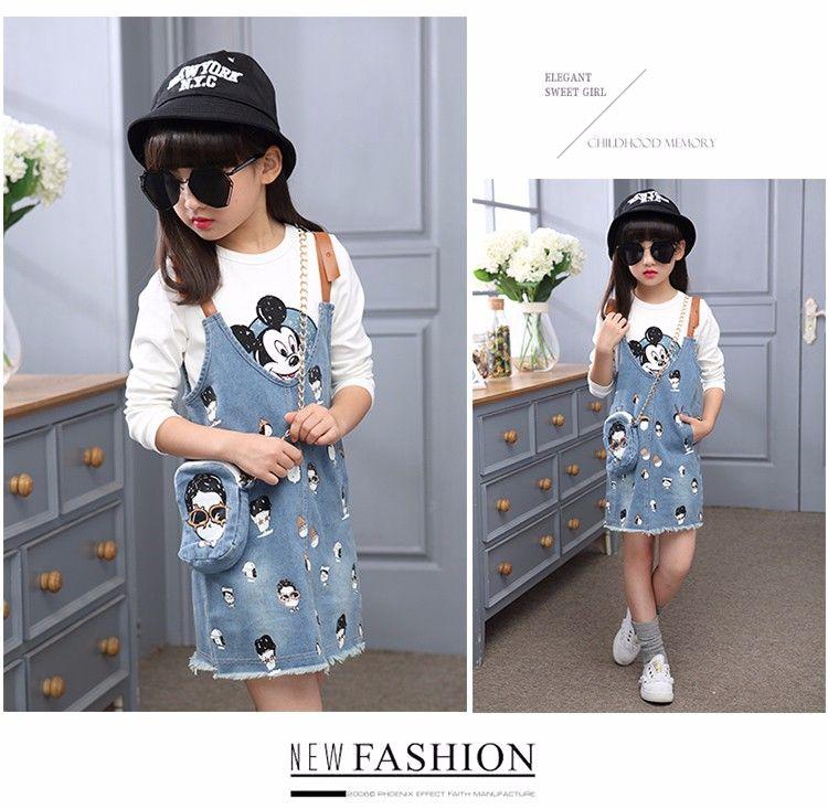 dd04318eb3b5 F166508 latest Design Girls Top Fashion Nova Clothing Denim Dress ...