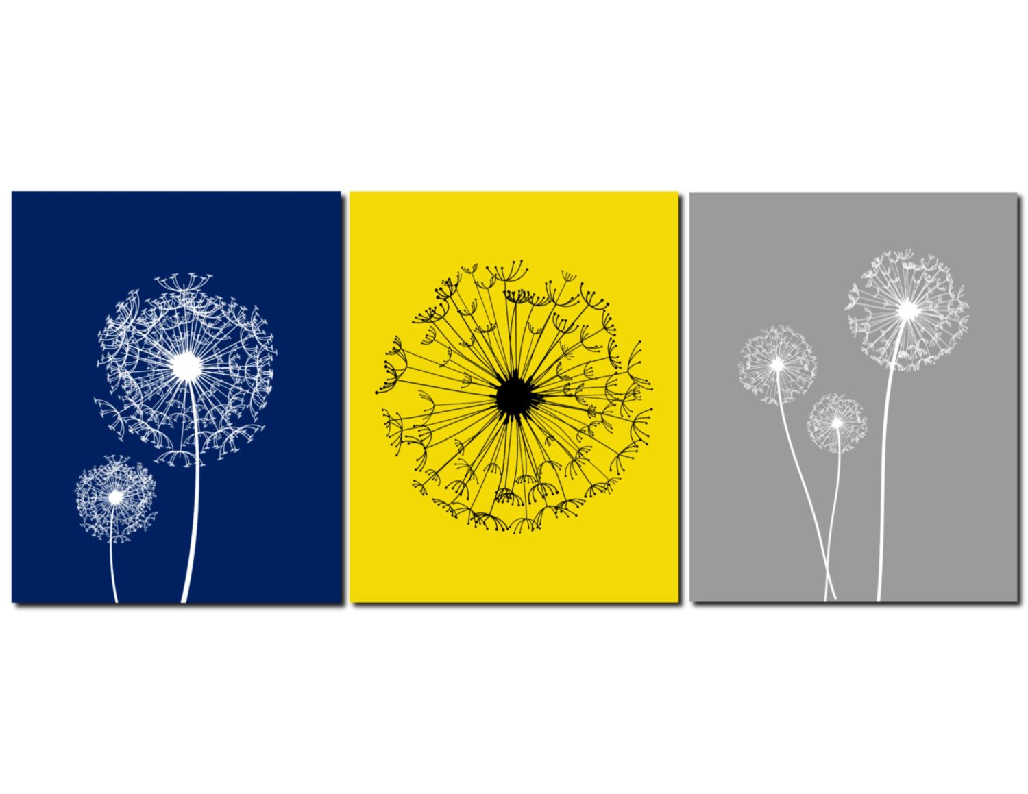 Dandelion Wall Art Navy Yellow Gray Bedroom Wall Art Home Decor ...