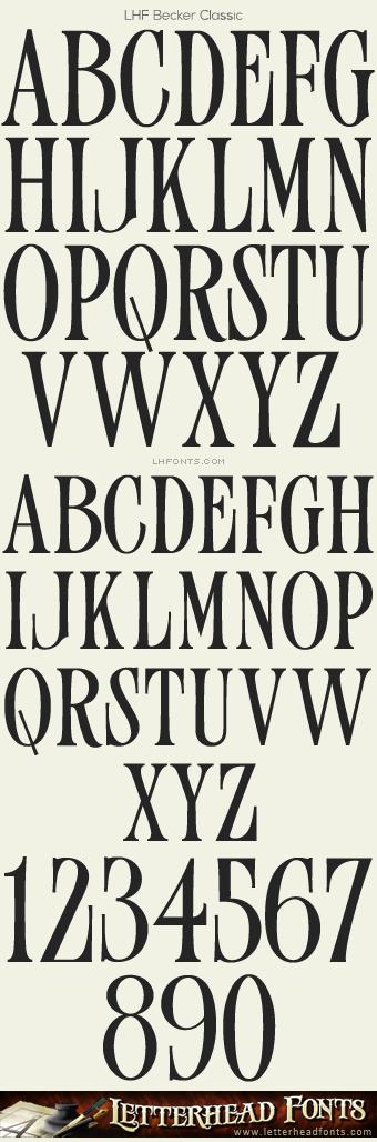 Letterhead Fonts LHF Becker Classic Font Old Fashioned