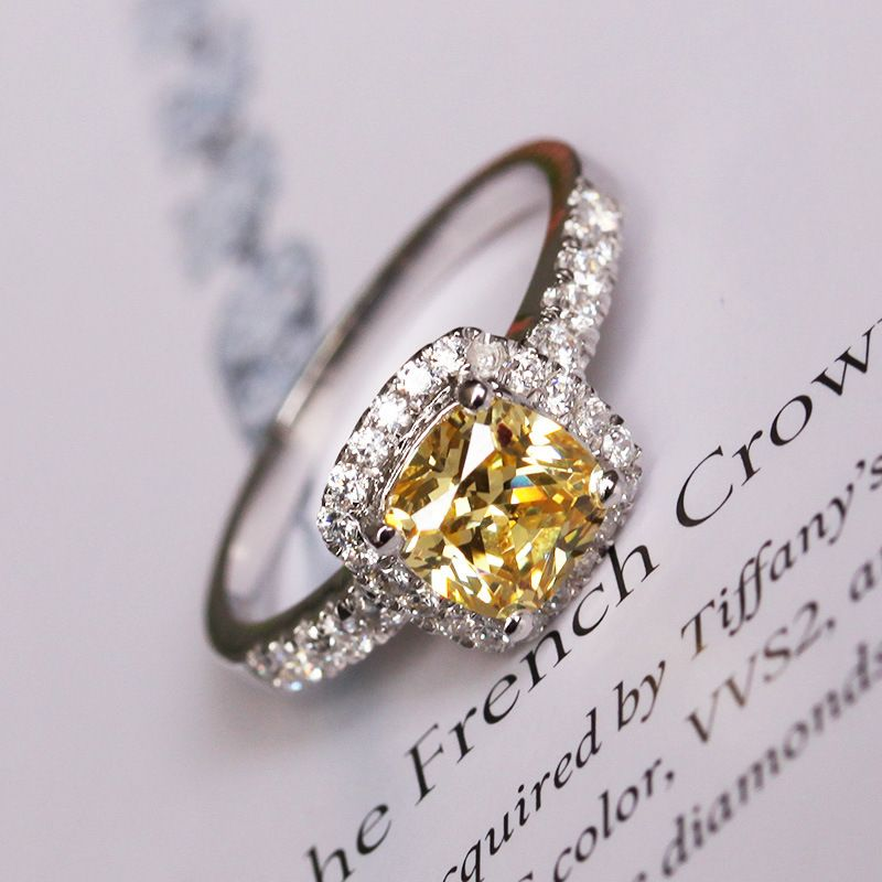 Yellow stone Cushion princess cut with 1 carat sona simulant