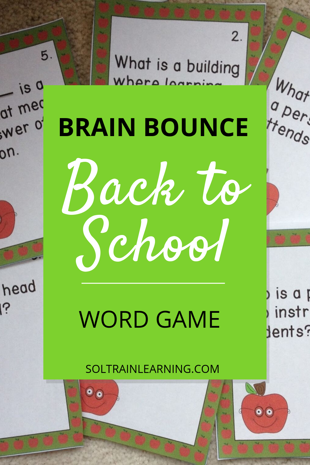 Back to School Word of the Day Brain Bounce Game Word