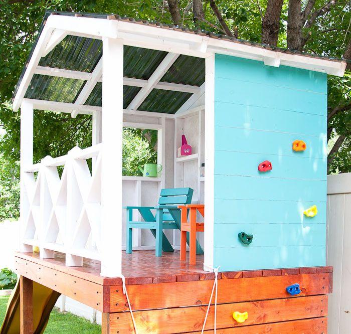 Stelzenhaus Fur Kinder Im Garten Mit Kletterwand Und Acryldach House Garden Stelzenhaus Hinterhof Spielplatz Selber Bauen Anleitung