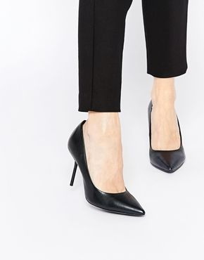 Faith Cadillac Black Leather Pointed Heel Court Shoes