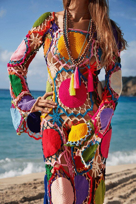 Hippie häkeln Kleid, Boho Kleidung, Zigeuner Kleid, Vintage, Geschenkideen, Sommerkleid, Strand handgefertigt