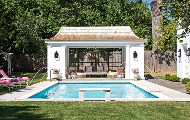 Fresh Pool House Design Cheers Up The Landscaping Minimalist White Bench Traditional Pool House Designs With Small Pool Houses Backyard Pool Pool House Plans