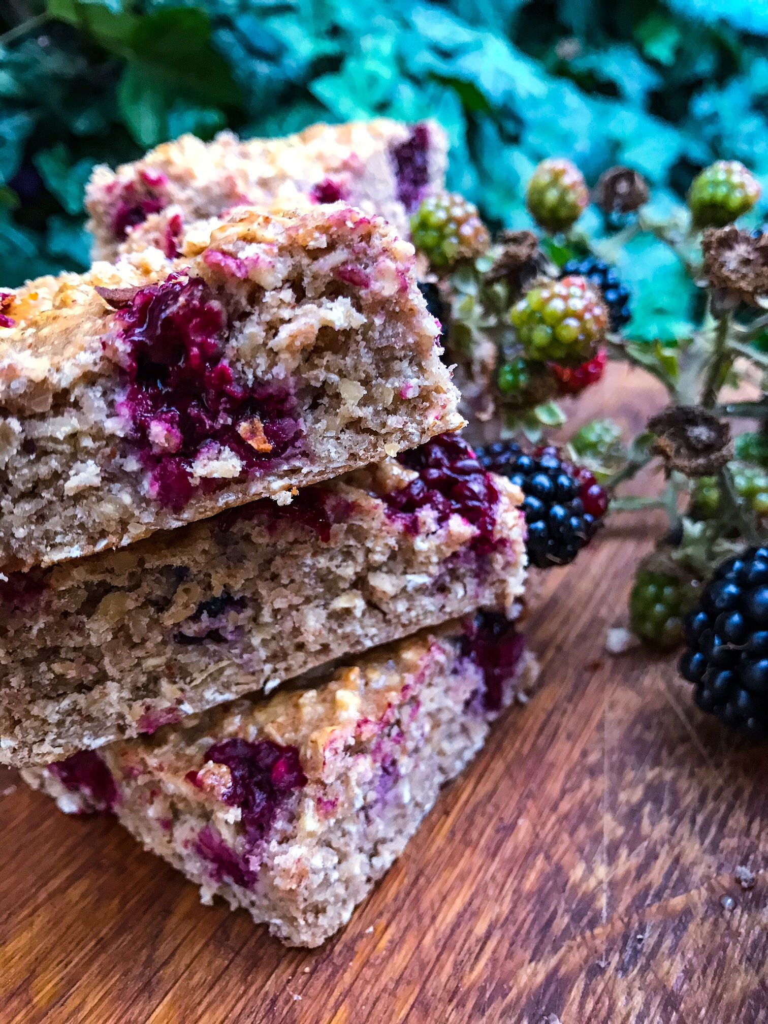 Protein Blackberry and Almond butter Flapjacks