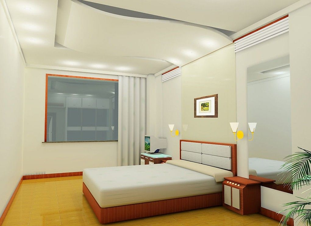 Wonderful Ceiling And Wall Designs Modern Bedroom With