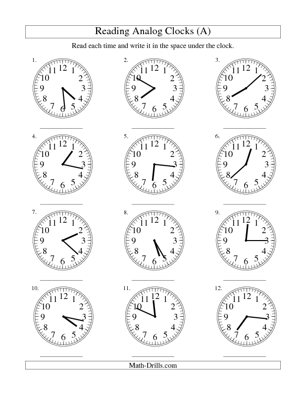 Time Worksheets analogue to digital time worksheets : Measurement Worksheet -- Reading Time on an Analog Clock in 1 ...