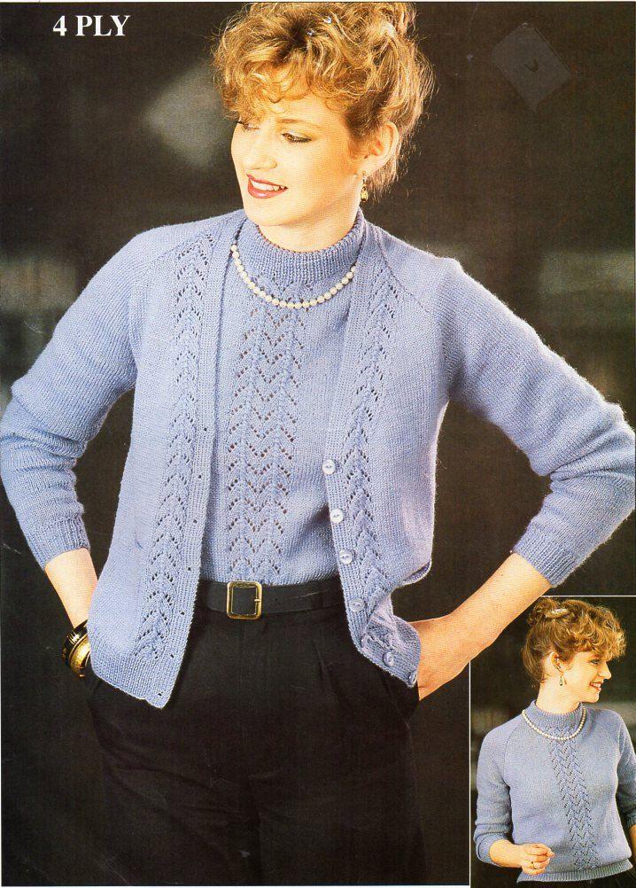 Ladies 4ply Twinset Knitting Pattern Pdf Womens Lace Panel Cardigan