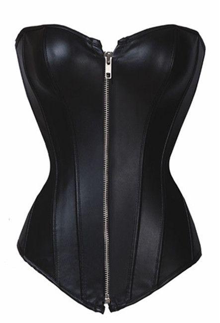 Women/'s Fashion Black Faux Leather Zipper Lace Up Corset Top Bustier Shaperwear