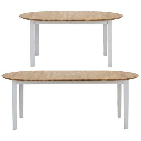 table de salle manger ovale rallonge en bois massif blanc chne - Table A Manger Ovale