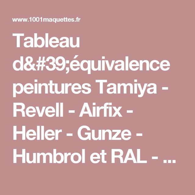 Tableau D 39 Equivalence Peintures Tamiya Revell Airfix Heller Gunze Humbrol Et Ral 1001maquettes Tableau Peinture Equivalence