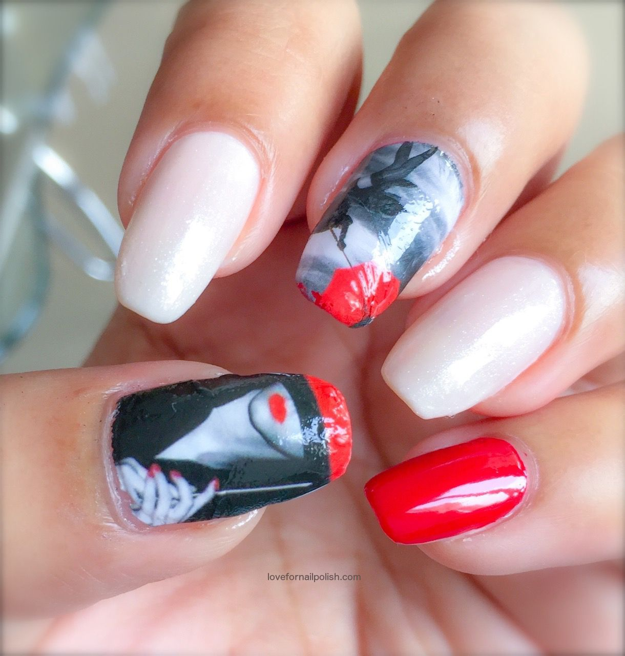 Nail Art With Water Decals ~ Girl With Red Umbrella! | Step By Step ...