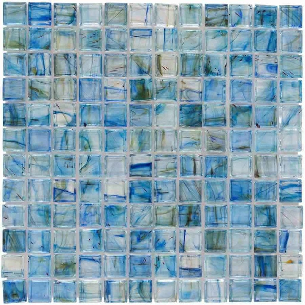 Clear Glass Mosaic Tile Stained Blue 12x12 Mineral Tiles In 2020 Mosaic Glass Glass Mosaic Tiles Mosaic Wall Tiles