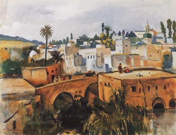 "ZINAIDA #SEREBRIAKOVA "" Thes. Morocco "" ( 1932 ) #Expressionism #morocco #art #painting #vida  #iloveart  #twitart"