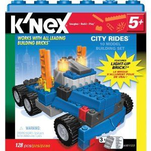 K'Nex City Rides 10 Model Building Set [128 pcs] by K'NEX. $19.75. Build lots of cool, city vehicles - with working lights! Includes the complete K'NEX building system PLUS the new light-up brick! The lights activate when you move the model. Ideas & instructions for 10+ unique models.