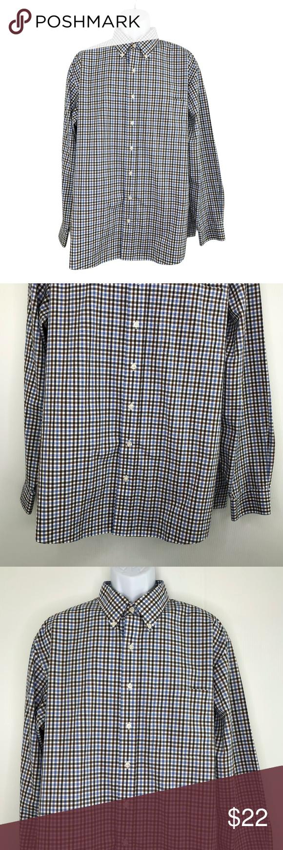 Jos A Bank Button Front Shirt Blue Check XL in 2020
