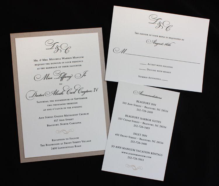champagne black cream monogram scroll formal wedding invitations - Formal Wedding Invitation