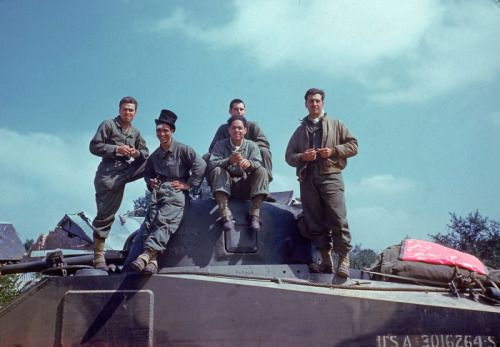 The crew of an M4 Sherman inAvranches, Normandy