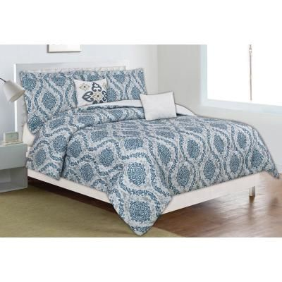 Photo of Home Dynamix Classic Trends Blue/Gray 5-Piece Full/Queen Comforter Set F/G-CTNF-340 – The Home Depot