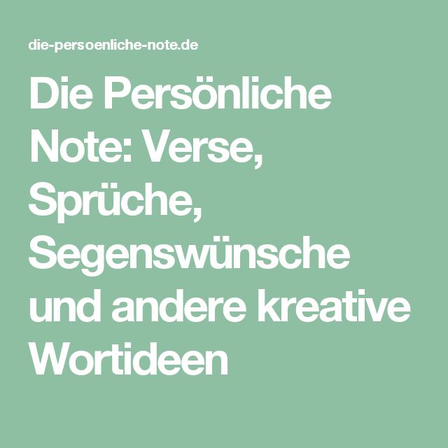 Schön Die Persönliche Note: Verse, Sprüche, Segenswünsche Und Andere Kreative  Wortideen