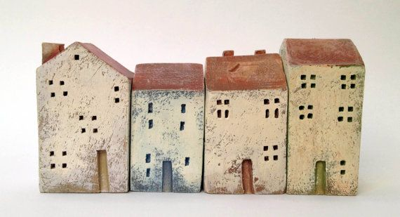 set of 4 ceramic houses in a row  made in high fired by VGCLAYART, $45.00