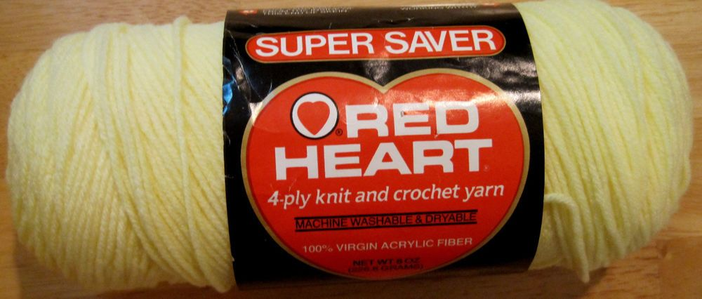 Red Heart~Pale Yellow~Baby~8 oz Yarn Skein~Worsted Weight~Acrylic #RedHeart #Baby