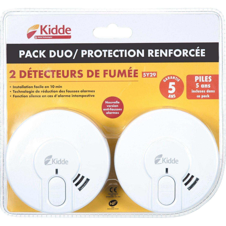 Lot De 2 Detecteurs De Fumee Kidde 5y29 Nf 3 Ans Detecteur De Fumee Fumee Et Detecteur