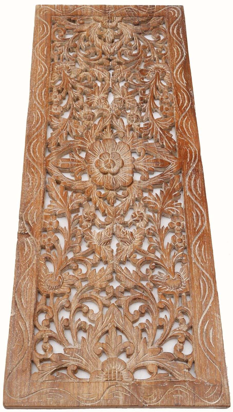 Asian Carved Wood Wall Decor Panel Floral Wood Wall Art White Wash 35 5 034 X13 5 034 Ebay Carved Wood Wall Art Carved Wood Wall Decor Carved Wall Art