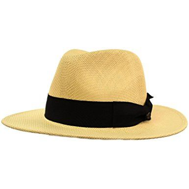 d7031c82079 SK Hat shop Men s Summer Lightweight Panama Derby Fedora Wide 2-3 4 Brim Hat  Review