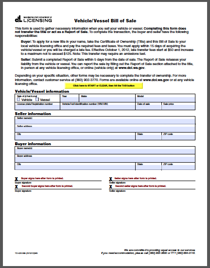 Washington Vehicle Bill Of Sale Form Bill Of Sale Template